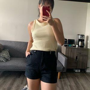 Zara HI-RISE HOT PANT BLACK SHORTS size S